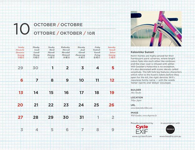 2013 Cycle EXIF Custom Bicycle Calendar
